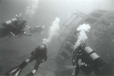 Divers on the James Barrie, Scapa Flow