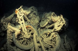 Bikes on the wreck of the Thistlegorm