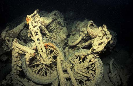 Motorbikes on the Thistlegorm shipwreck