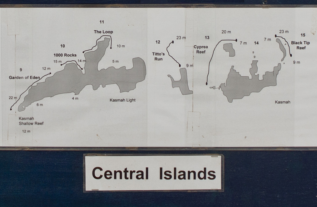 Dive Site Map of Central Daymaniyat Islands